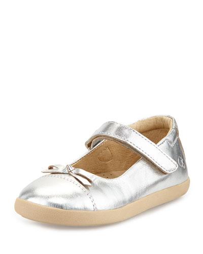 Leather Cap-Toe Ballet Flat, Silver Metallic, Youth