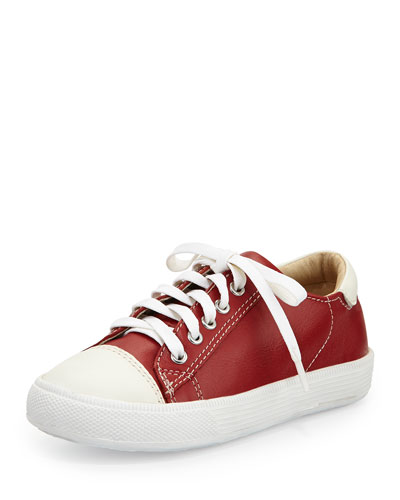 Leather Cap-Toe Sneaker, Red, Youth