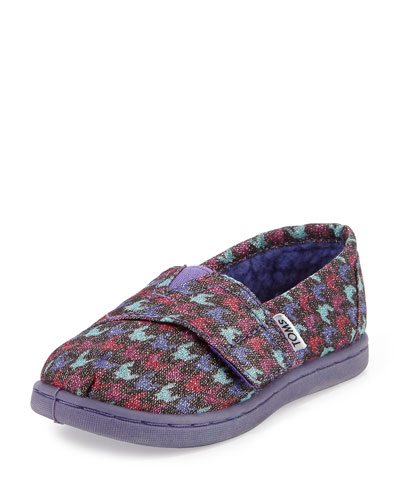 Glimmer Houndstooth Canvas Slipper, Tiny, Grey/Multi