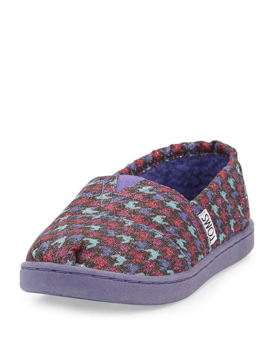 Youth Glimmer Houndstooth Canvas Slipper, Grey/Multi