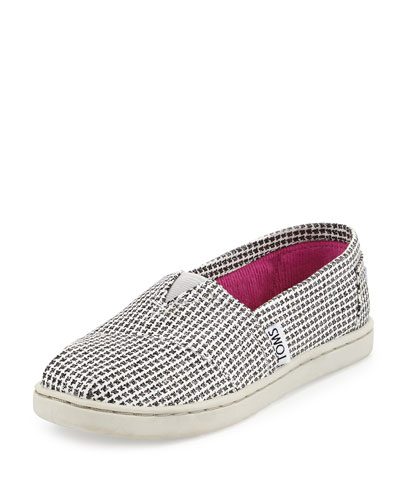 Glimmer Herringbone Canvas Slipper, Silver, Youth