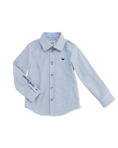 Long-Sleeve Logo-Print Poplin Shirt, Blue, Size 2-8