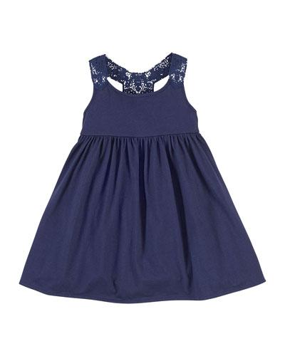 Lace-Trim Jersey Dress, Cruise Navy, Size 2-6X