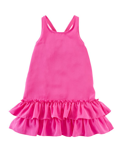 Silk Fit-and-Flare Racerback Dress, Fuchsia, Size 2-6X