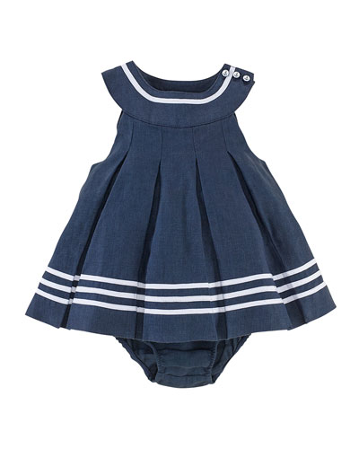 Linen Sailor Dress & Bloomers, French Navy, Size 3-24 Months