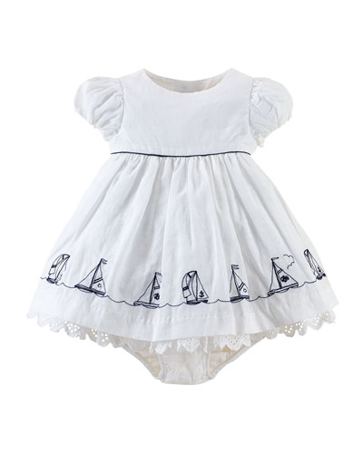 Nautical-Print A-Line Dress & Bloomers, White, Size 3-24 Months