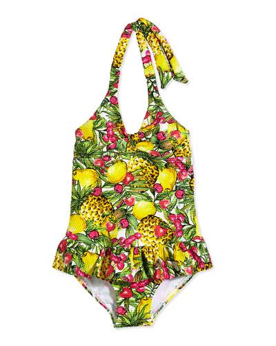 Tutti Cutie Halter Swimsuit, Yellow Multi, Sizes 0-7