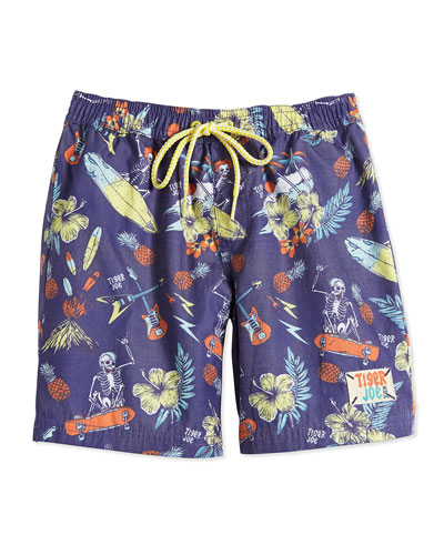 Skeleton Island Rider Board Shorts, Tropical, Boys