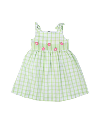 Plaid Seersucker Dress, White/Green, Size 2T-6X