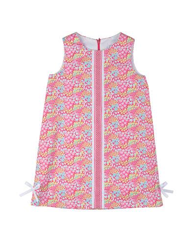 Floral Pique Shift Dress, Pink, Size 2T-6X