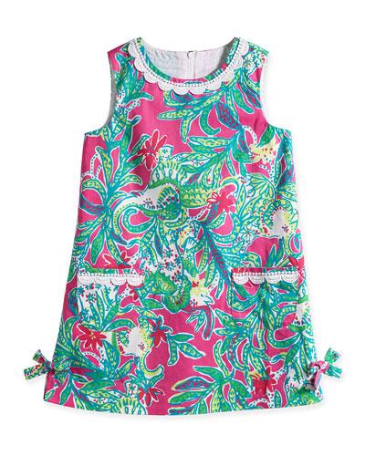 Little Lilly Tropical-Print Classic Shift Dress, Capri Pink, Size 2-10
