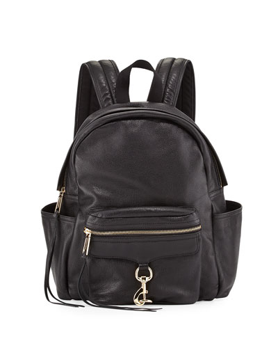 Mab Leather Baby Backpack, Black