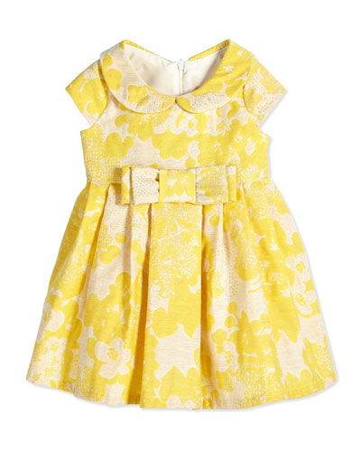 Floral Brocade Party Dress, Yellow, Size 12-24 Months