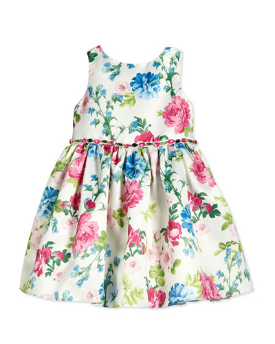 Sleeveless Satin Floral Dress, White/Pink/Blue, Size 2-10
