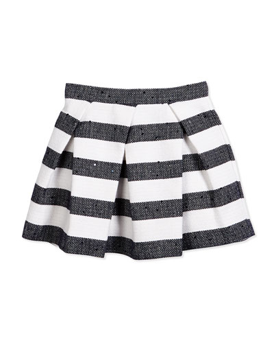 Striped Tweed Skirt w/ Sequins, Navy/White, Size 3T-4T