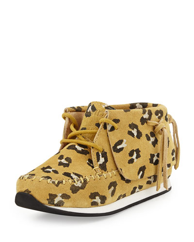Stone Leopard-Print Suede Moccasin, Brown