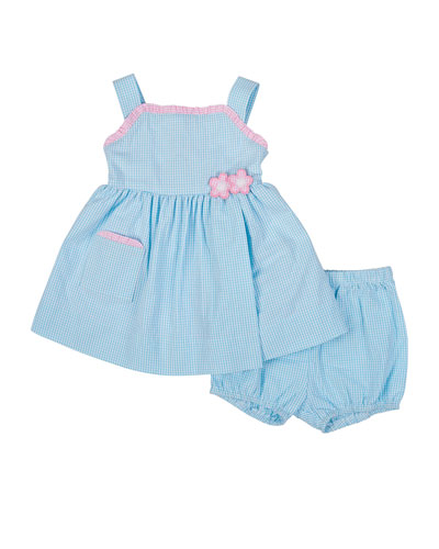 Gingham Seersucker Dress, Bloomers & Bonnet, Blue/White, Size 3-24 Months