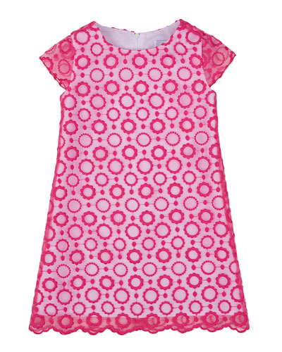 Floral-Embroidered Shift Dress, Fuchsia, Size 4-6X