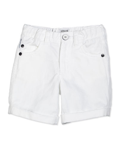 Cotton-Blend Twill Shorts, White, Size 2-8