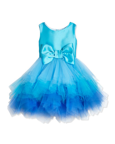 Tiered Tulle & Satin Dress, Aqua, Size 7-14