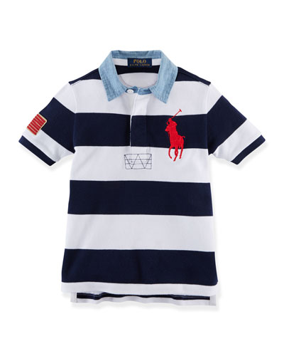 Striped Mesh-Knit Polo w/ Contrast Collar, French Navy, Size 2-7