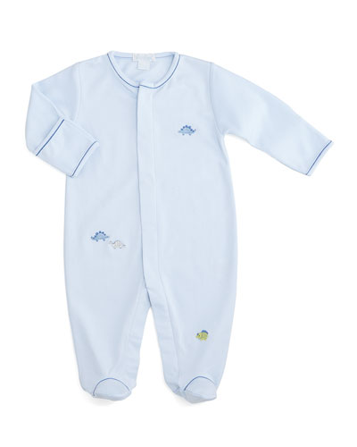 Scattered Dinosaur Pima Footie Pajamas, Light Blue, Size Premie-9 Months