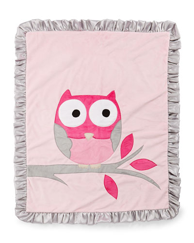 It's a Hoot Plush Blanket, Pink