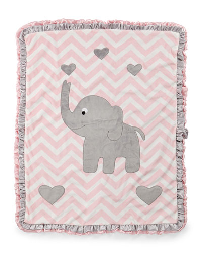 Plush Chevron Elephant Blanket, Pink