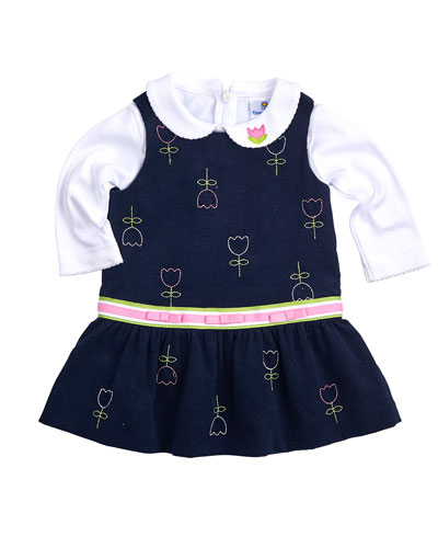 Tulip-Print Corduroy Jumper & Long-Sleeve Knit Blouse, Navy/White, Size 2T-4T