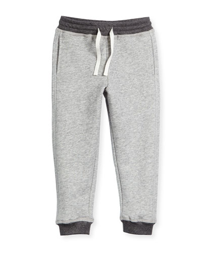 Terry-Lined Drawstring Sweatpants, Steel, Size 2-7