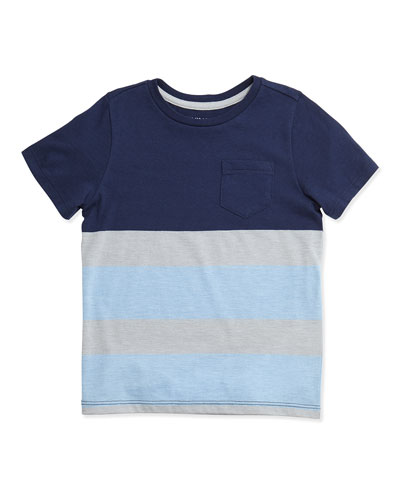 Favorite Striped Jersey Tee, Blue/Gray, Size 2-7