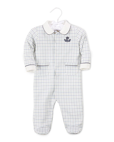 Plaid Footed Pima Coverall, White, Size 3-9 Months