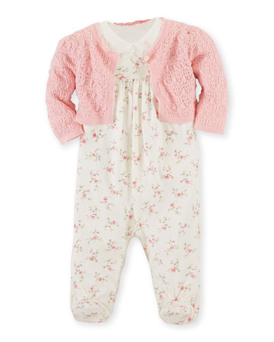 Bolero, Footed Overall & Bodysuit Set, Pink/White, Size 3-9 Months