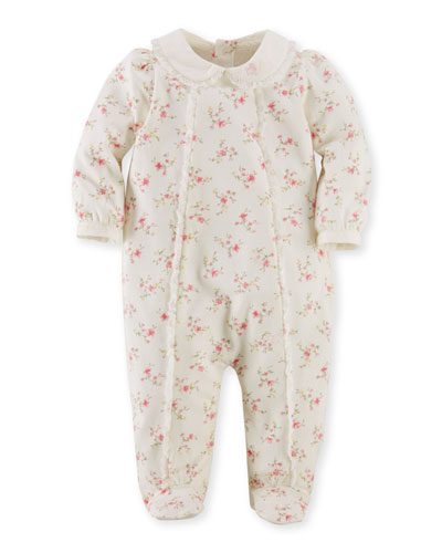 Floral Footie Coverall, Cream, Size 3-9 Months