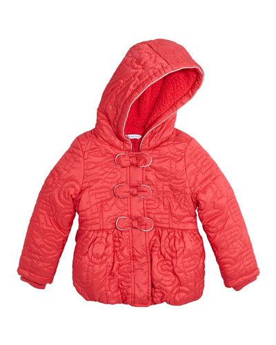 Logo-Embroidered Coat w/ Fleece Lining, Pink, Size 4-12