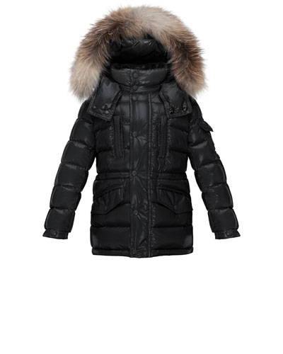 Hooded Fur-Trim Button-Front Puffer Coat, Black, Size 8-14