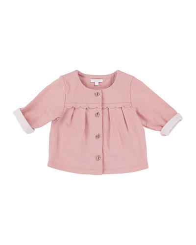 Pleated Button-Front Polka-Dot Top, Rose, Size 12M-3