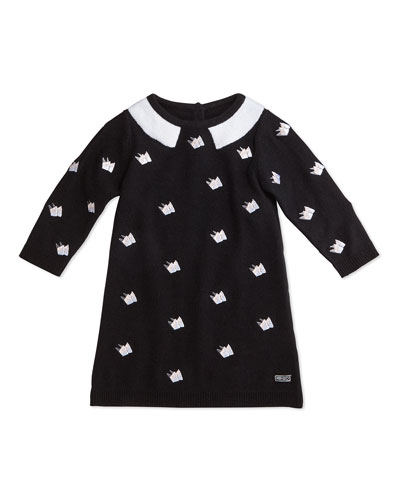 Long-Sleeve Schiffli-Embroidered Sweaterdress, Black, Size 12M-2Y