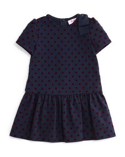 Short-Sleeve Polka-Dot Dress, Navy/Red, Size 2-4