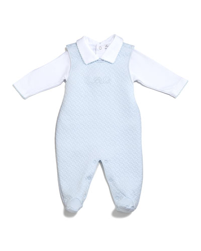 Bébé Jacquard Footed Overall Set, Blue, Size 0-9 Months
