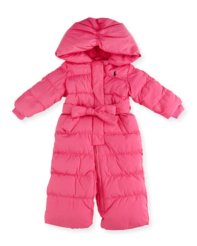 Hooded Down Snowsuit, Pink, Size 9-24 Months
