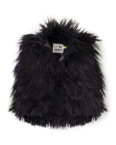 Faux-Fur Jungle Vest, Black, Size 2-5