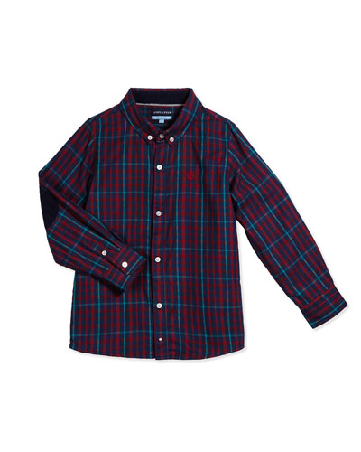 Long-Sleeve Flannel Check Shirt, Navy, Size 2T-7Y