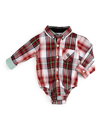 Long-Sleeve Cotton Plaid Shirtzie™, Red, Size 6-24 Months
