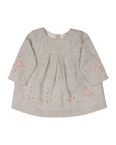 Embroidered Cotton-Poplin Shift Dress, Gray, Size 18M-2