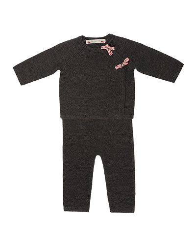 Wool Long-Sleeve Top & Pants, Gray, Size 3-6 Months