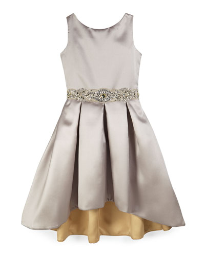 Sleeveless Pleated Sateen High-Low Dress, Silver, Size 7-14