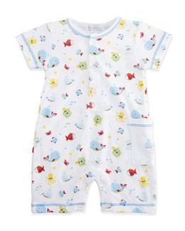 Whale Tails Pima Printed Shortall w/ Pocket, White/Blue, Size 3-24 Months