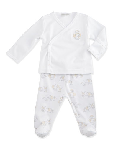 Shower Me with Love Pima Footie Pajamas, White/Silver, Size Newborn-6 Months