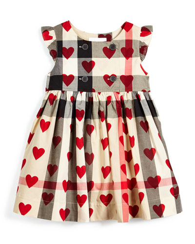 Phoebe Sleeveless Check Heart-Print Dress, Tan/Red, Size 4-14